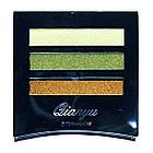 Тени для Век Meis MS-033 Трехцветные Атласные Компактные Тон 02 Цвета Салатово Белый, Оливковый, Коричневый, фото 4