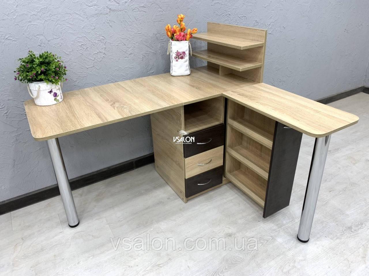 Угловой маникюрный стол V395, комбинированный цвет
