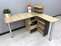Угловой маникюрный стол с дополнительной столешницей и ящиком карго V395