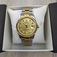 Женские наручные копия часы Rolex perpetual date just серебро с золотым циферблатом