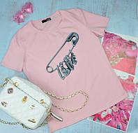 Женская футболка Moschino (Москино) ПУДРА