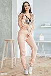 Легкий вязаный спортивный костюм розовый, фото 2