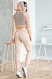 Легкий вязаный спортивный костюм розовый, фото 4