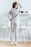 Трикотажный спортивный костюм с мехом на груди серый, фото 3