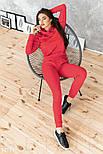 Трикотажный спортивный костюм с мехом на груди красный, фото 2