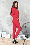 Трикотажный спортивный костюм с мехом на груди красный, фото 3