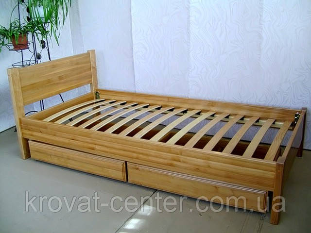 """Односпальная кровать из дерева с ящиками от производителя """"Эконом"""""""