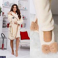 Домашний набор халатик теплый женский с тапочками