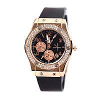 Женские кварцевые наручные часы Hublot Diamond, Black&White, фото 1