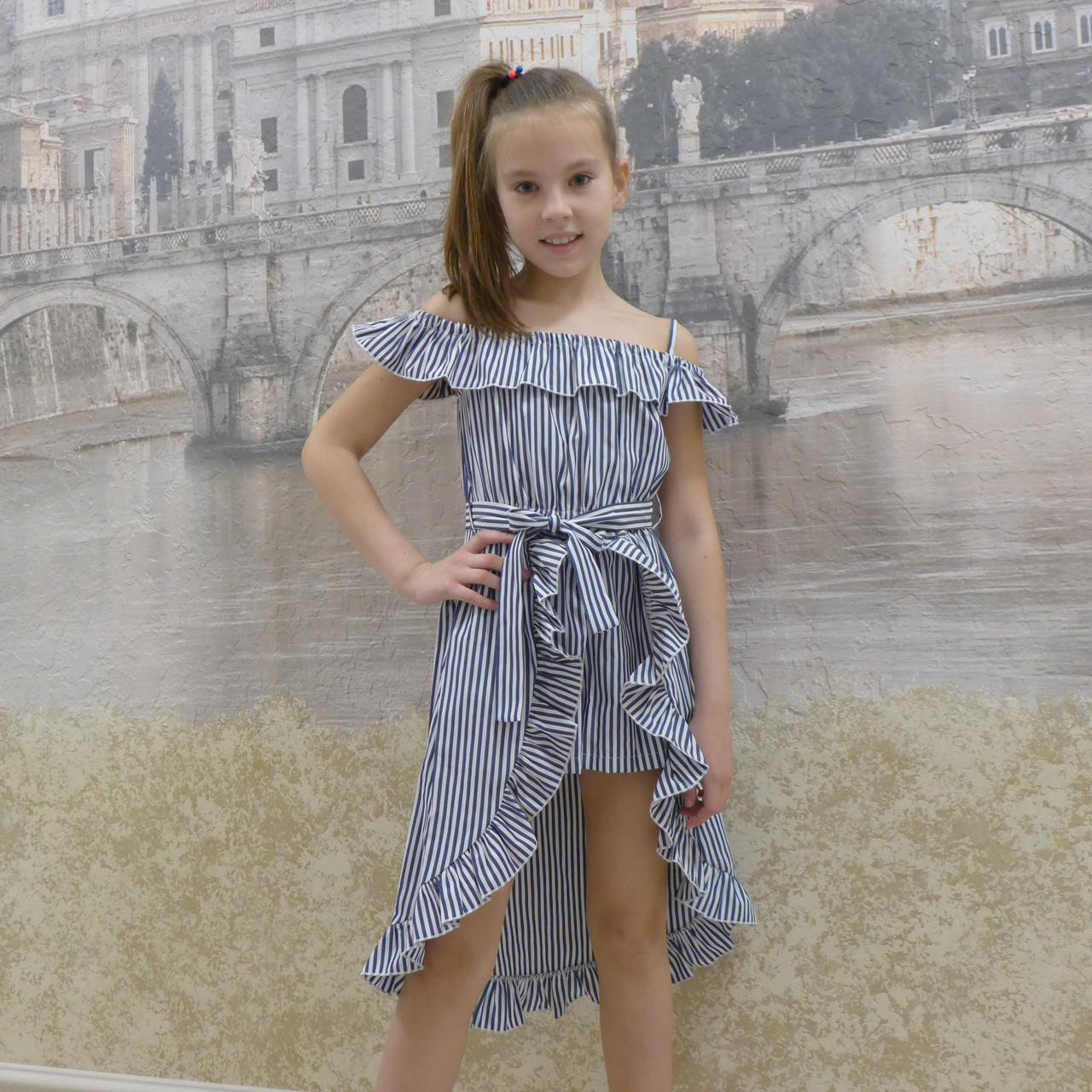 Платье-шорты (19 синяя  полоска)