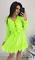 Женское яркое легкое шифоновое платье с воланами
