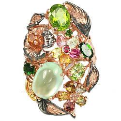 Серебряное кольцо с натуральными Перидотами Турмалинами Хромдиопсидами и Пренитом