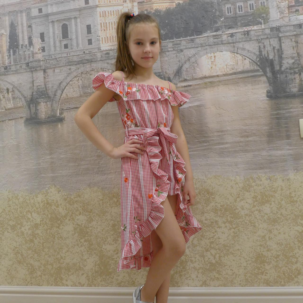 Платье-шорты (19 красная  вышивка)