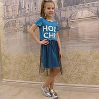 Комплект-футболка+юбка фатин(19 бирюза), фото 1