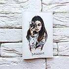 Обкладинка на паспорт Дівчина з вином (білий), фото 2