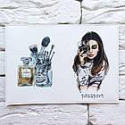 Обкладинка на паспорт Дівчина з вином (білий), фото 3