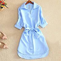 Женское летнее платье-рубашка с отложеным воротником