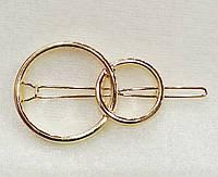 Заколка для волос Круги (цвет золото), фото 1