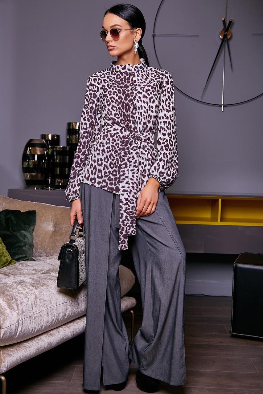 Эффектная женская леопардовая блуза 1159 (42–50р) в расцветках