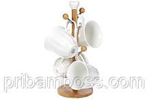 Набір (4шт) порцелянових чашок 300мл на бамбуковій підставці Naturel, 31см