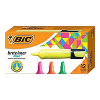 BIC Маркер текстовий жовтий зелений  рожевий оранжевий.Текстовидільний.Brite Liner Flat Highlighter,Chisel Tip