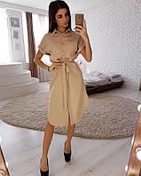 3804839a3f3 Женское стильное платье с поясом на пуговицах