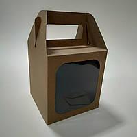 Коробка крафт для кулича, пряничного домика, подарка, чашки 130х130х140 мм, фото 1
