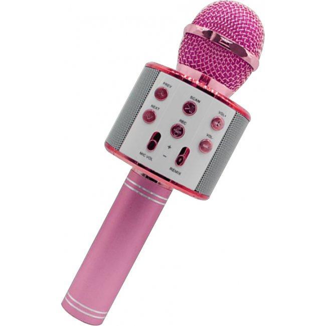 Bluetooth микрофон-караоке WS-858 с динамиком (колонкой), слотом USB и FM тюнером ярко-розовый
