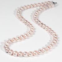 Намисто з рожевих перлів, Ø7 - Ø8 мм, 48 див., срібний карабін, 609БСЖ, фото 1