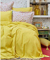 Піке покривало + простирадло +4 наволочки Karaca Home Picata sari 2018-2 жовтий pike jacquard