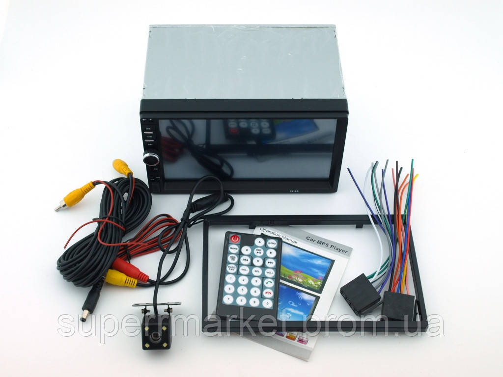 "Car MP5 7018B 180W  4*45W , Bluetooth автомагнитола, 2DIN сенсорный экран 7"" камера заднего вида"