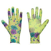 Защитные перчатки (цветочки), PURE FLOXY, полиуретан, размер 7, RWPFL7