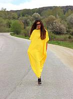 Платье оверсайз желтого цвета из трикотажа в пол