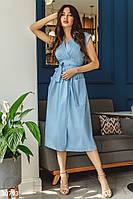Однотонное летнее платье миди с поясом голубое