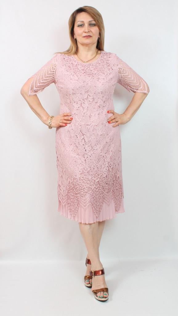 Турецкое кружевное платье миди, размеры 50-64