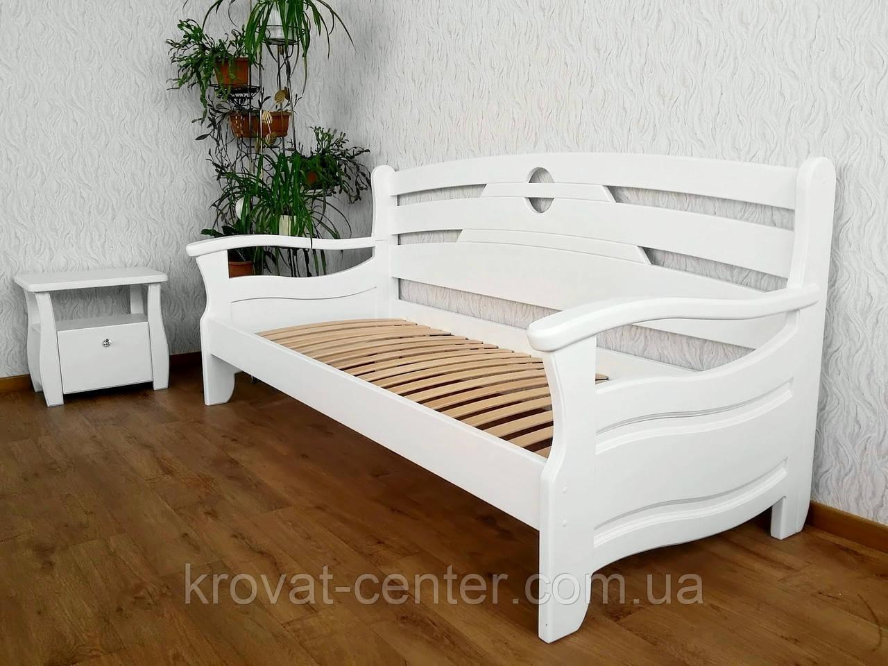 """Белый односпальный диван кровать из массива дерева """"Луи Дюпон Люкс"""""""