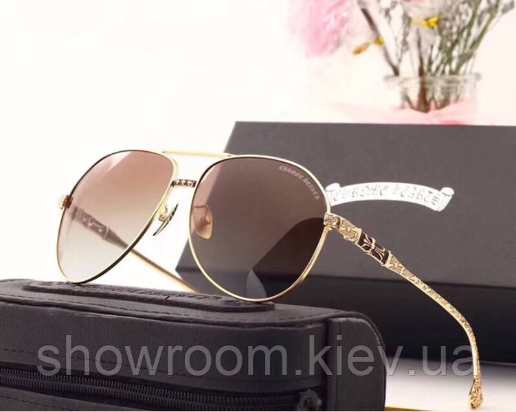 Мужские солнцезащитные очки в стиле Chrome Hearts (1317) brown