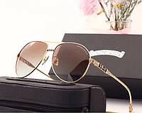 Мужские солнцезащитные очки в стиле Chrome Hearts (1317) gold