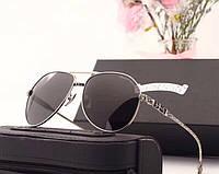 Мужские солнцезащитные очки в стиле Chrome Hearts (1317) silver, фото 1