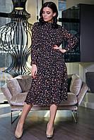 Винтажное Платье из Шифона Воротник Стойка Черное с Цветочным Принтом XS-XL