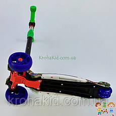 Самокат трехколесный Best Scooter, 3 колеса PU со светом, d=12 см, свет платформы UL-55077S, фото 3
