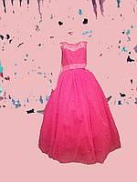 Пышное платье с бусинами в пол 6-12 лет красный