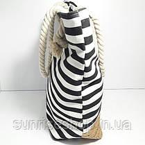 Пляжная сумка чёрная полоса, фото 2