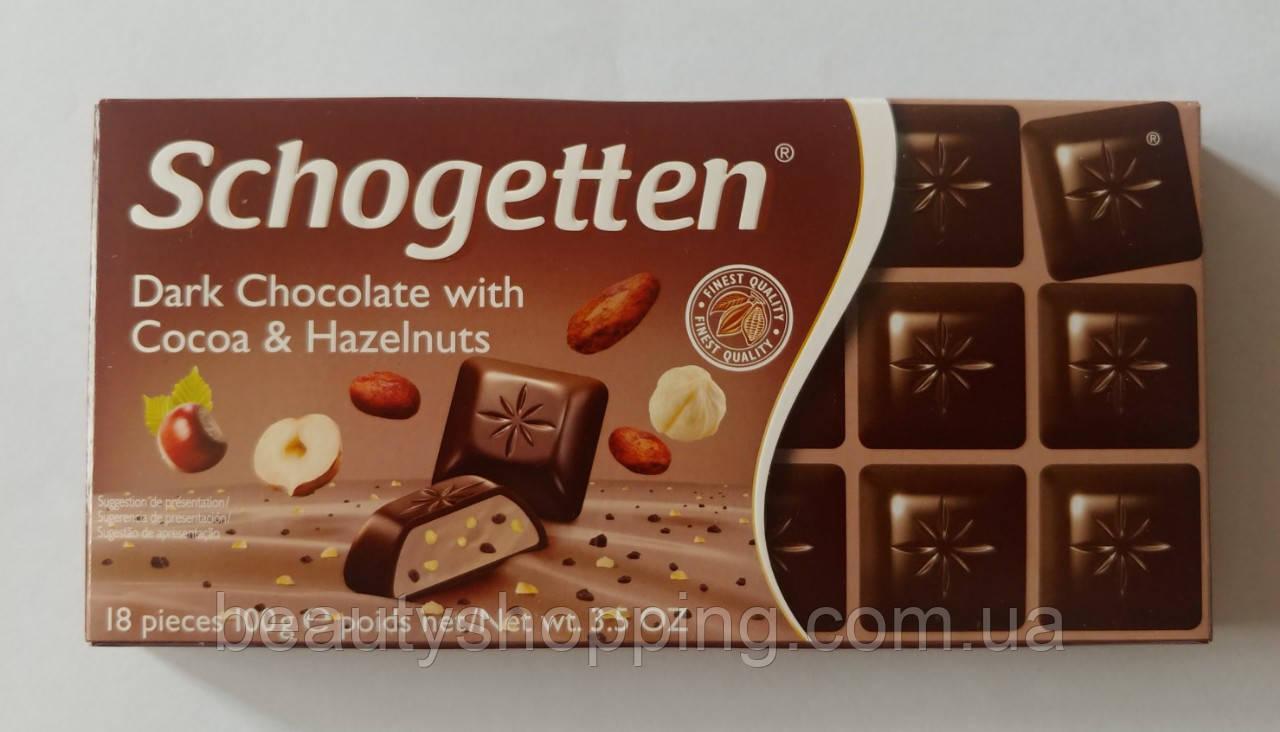 Schogetten Темный шоколад с какао начинкой и дробленым лесным орехом 100 гр