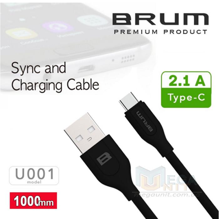 USB кабель Brum U001t USB type C 100см 2,1A