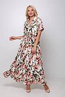 Длинное платье с цветочным принтом КАРМЕН молочное