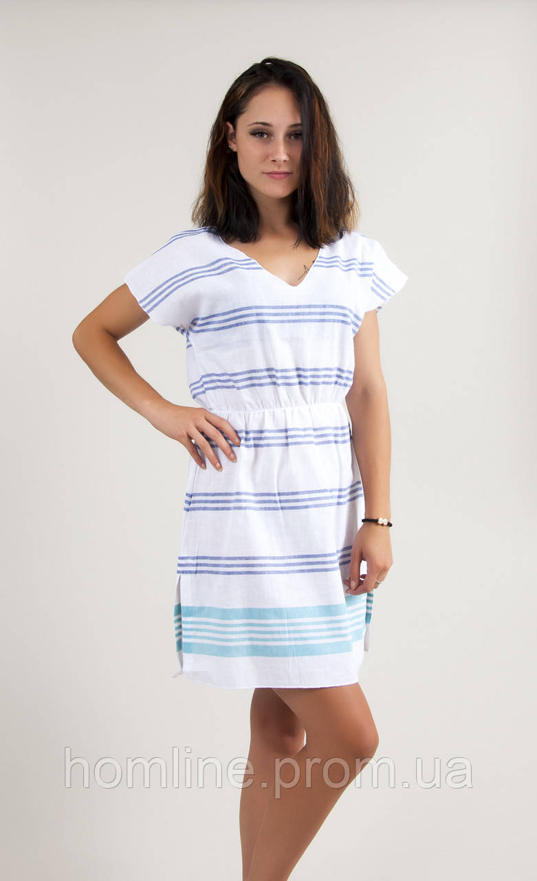 Пляжное платье Barine Fine Cotton Dress White-Navy Turquise синий