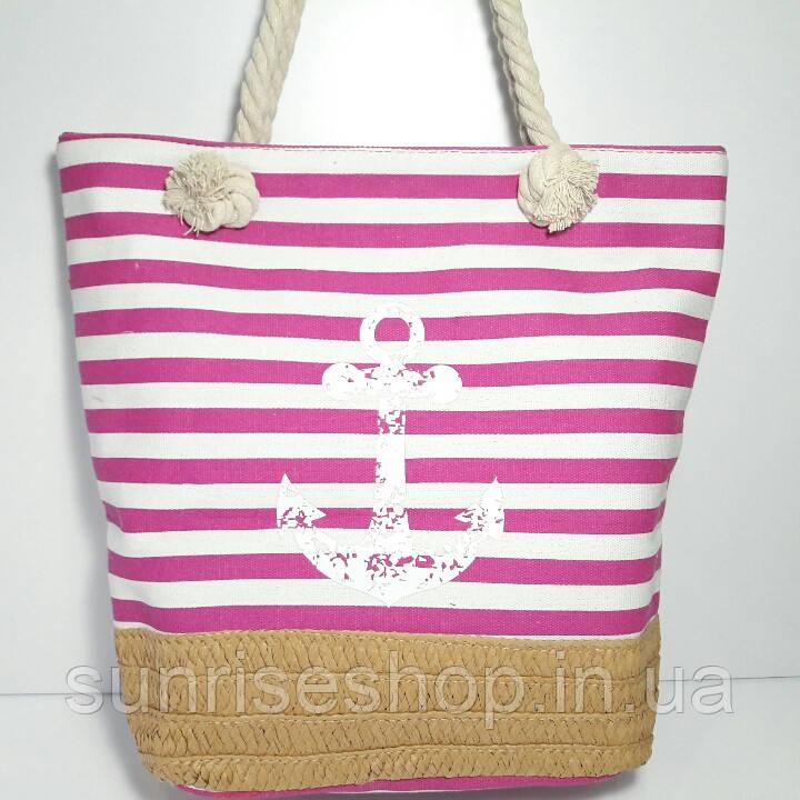 Пляжная сумка розовая полоса