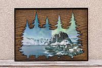 """Деревянная картина """"Северное сияние"""" (А00710)"""