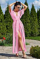 Женская длинная туника-парео (3487-3482-3483-3484-3485-3486-3489 svt) Розовый